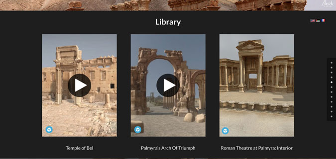 Palmyra's Temple of Bel, Arch of Triumph, and Roman Theatre provided by the Arc/k Project.